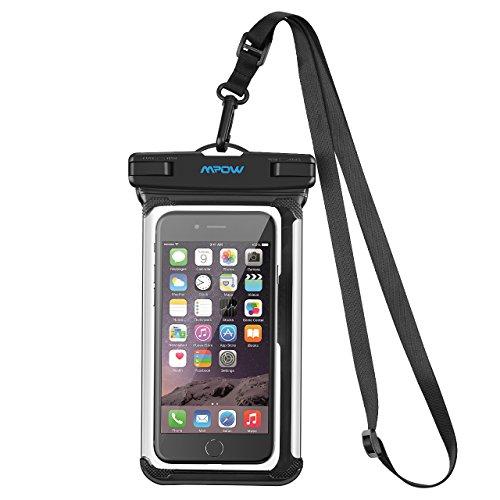 防水ケース スマホ用 Mpow 新版パノラマなエッジ iPhoneX iPhone8 iPhone7 など対応 海水浴 潜水 お風呂 温泉 水泳 砂浜 水遊び 水中撮影 タッチ可能 iPhone Android 6インチ以下全機種対応 調整可能なネックストラップ付属 IPX8認定 18ヶ月間国内保証 ブラック