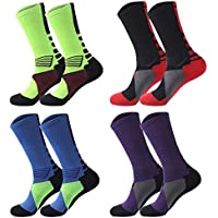 Fly-love 4 Pack Men's Cushioned Basketball Dri-Fit Athletic Compression Long Sports Outdoor Dress Socks