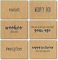36ブラウンクラフト紙Happy誕生日グリーティングカード–6面白いユーモア手書きデザイン、ブラウンクラフト紙封筒Included–4x 6インチ