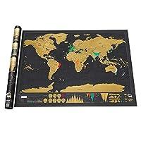 ゴールドスクラッチマップスクラッチマップサイズブラックゴールドブラックラグジュアリーエディションワールドマップパーフェクトトラベラーズマップフォイルコーティング-カラーS