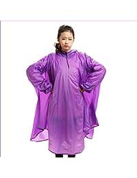 雨具 防水 女性用 通学 便利 薄くて軽い 電気自動車 ポンチョ 大人 一人 透明 帽子 レインコート (色 : 紫の)