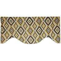 イエロー、グレー、チャコールTribal Diamond Ikat飾り布