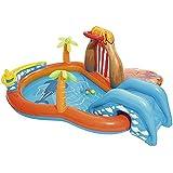 2イン1インフレータブルプールと子供のためのスライド、インフレータブル水のおもちゃ、赤ちゃんと幼児のための屋外スイミングプール、265×265×104CM