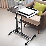 Soges 角度&高さ調節可能 机 昇降式 テーブル サイドテーブル 可移動デスク キャスター付きデスクキャスター付き 昇降式サイドテーブル ノートパソコンスタンド 折りたたみテーブル 立ち 机 (ブラック)