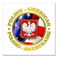 """CafePress–Polish American Squareカーマグネット3"""" x 3""""–Squareカーマグネット、磁気バンパーステッカー Large - 5x5 1221052095D45F5"""