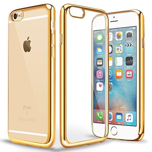 iPhone6s ケース / iPhone6 ケース TPU 【COOLOO】 透明 ソフト クリア メッキ加工 耐衝撃 最軽量 超薄型 一体型 人気 オシャレ アイフォン 6s / 6 用 (ゴールド)