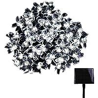 RPGT ソーラー LEDイルミネーションライト 33m 300LED 桜の花 ソーラーライトストリング USB充電式 防水 8ライトモード ソーラー充電式 さくらタイプ クリスマスガーデン装飾ライトストリング 屋外、クリスマスツリー、ガーデン、誕生日、バレンタイン、ウェディングパーティーデコレーション(ホワイト)