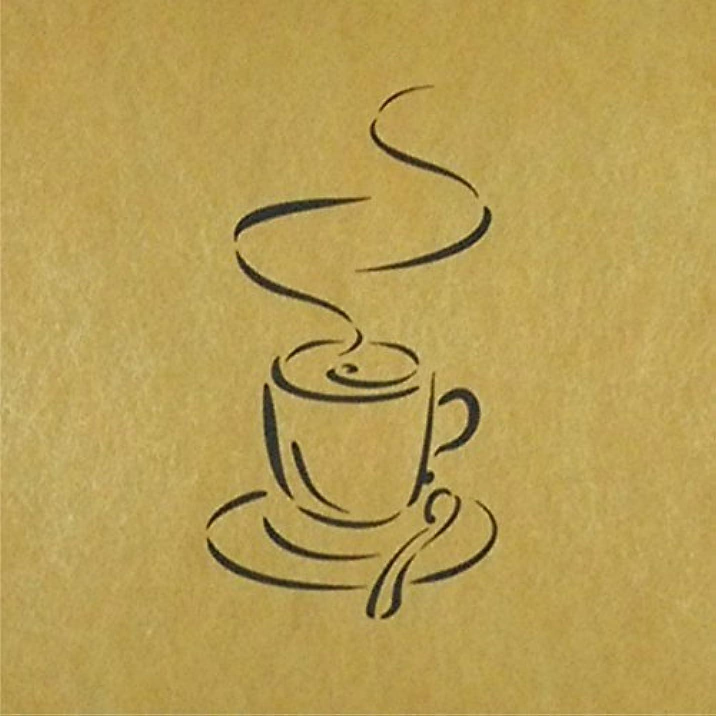 気取らない避難証拠ステンシルシート コーヒー 3サイズ型紙 (30cm)