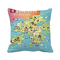 私は香港の中国の場所の地図が好きです スクエアな枕を挿入してクッションカバーの家のソファの装飾贈り物