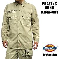 2366 Dickies × LA/ディッキーズ 574 長袖カスタムワークシャツ PRAYING HAND ロングスリーブ カーキ