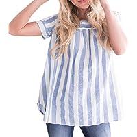 SakuraBest 女性 夏の緩いストライプ綿とリネントップ