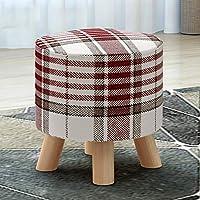 クリエイティブスツールソリッドウッドクッションフットスツールオスマンフットスツールフットスツールスツールファッション生地の靴ベンチ4木製脚リビングルームと寝室に適して (Color : A)