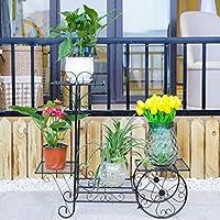 WXL フラワーシェルフ多段屋内鍛鉄緑色花瓶棚フロア立て居間蘭オーキッドミートバルコニーラック (色 : ブラック)