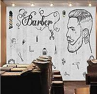 Lcymt ヨーロッパとアメリカの産業用風セメントの壁の美容院の理髪店の店の壁の専門の生産の壁紙の壁画-400X280Cm