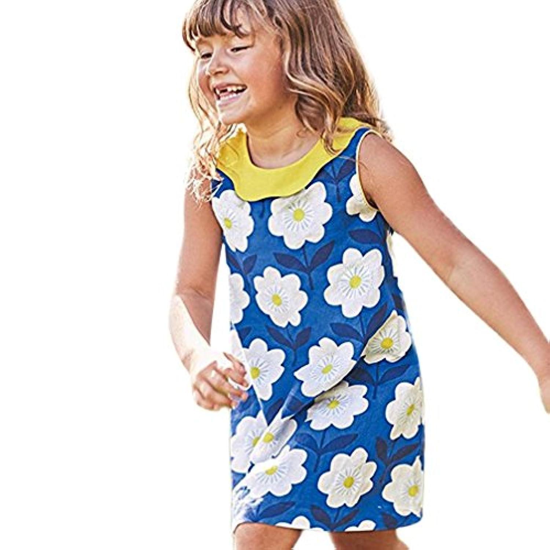 Feiscat子供服 女の子 ドレス ノースリーブ プルオーバー ブルー スカート 花柄 ワンピース パーティースカート 旅行 写真 カジュアル おしゃれ ファション プリンセスドレス お出かけ 夏春 海 プレゼント