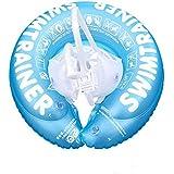 Meirun 浮輪 浮き輪 スイミングリング インフレータブル 赤ちゃん 子供 PVC素材 スイミングリングライフブイ 安全性 厚い ストラップ リング脇の下サークル 海水浴 水泳 競泳 (ブルー, S)