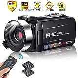 ビデオカメラ カムコーダーカメラフルHD 1080p 30FPSビデオカメラ24MP 18xデジタルズーム3インチIPS 270°リモートコントロール付き回転スクリーン モコン付属 バッテリー*2