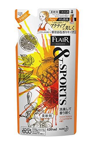 フレアフレグランス &SPORTS(スポーツ) 柔軟剤 消臭して香り咲く パッショントロピカルの香り 詰め替え 420ml 花王