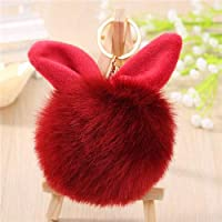 Fluffy Keychain Ball Fur Pom Pom Key Chain Fluffy Bunny Keychain Chaveiro Faux Rabbit Hair Bulb Bag Car Ornament Fur Ball Key Ring Style 4