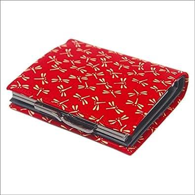 印傳屋 印伝 がま口 1602 とんぼ(赤×白) レディース ( 女性用 ) 財布 二つ折財布 ( 二つ折り財布 ) 札入れ 日本製 和風 和柄 通販 ギフトに。 (とんぼ(赤×白))
