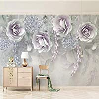 Lixiaoer カスタム写真壁画壁紙3Dステレオ紫色の花の壁絵画リビングルームのソファベッドルームテレビの背景壁-400X280Cm
