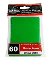 Sleeves - Monster Protector Sleeves - Smaller Size Gloss Finish - GREEN (Fits Yugioh and Other Smaller Sized Gaming