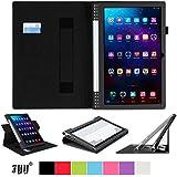 [コーナー保護型]Lenovo タブレット YOGA Tablet 2 Pro 13.3インチ(Android 4.4) ケース,Fyy® 滑り止め型 スマートケース  マグネット開閉式上質な素材付・ 分離可能 カードスロット付き ・ リストバンド付【全3色】ブラック