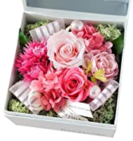 花由 ボックスフラワー hana cube 白箱 プリザーブドフラワー ピンク マケプレプライム便