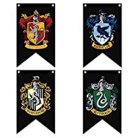 Harry Potter Complete Hogwarts House Banners (Black Edition) 4pc. Set - Gryffindor, Slytherin, Hufflepuff, Ravenclaw Ultra Premium Double Layered