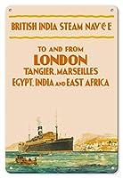 22cm x 30cmヴィンテージハワイアンティンサイン - ロンドンから - 英国のスチームナビゲーション株式会社 - タンジェ、マルセイユ、エジプト、インド、東アフリカ - ビンテージな遠洋定期船のポスター c.1910s