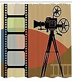 Best Ambesonneシャワー - Ambesonne 映画館 シャワーカーテン 抽象的なレトロスタイル カラフルな構造 プロジェクションとストリップボーダー付き 布生地 バスルーム装飾セット Review