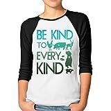 ZYXcustom Women's Be Kind to Every Kind Vegan Vegetarian 3 4 Sleeve Raglan Tee
