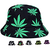 Pogah Bucket Hat - Marijuana Weed Fishing Hat - Unisex Sun Uv Protection Wide Brim Flat Sport Cap Hat for Outdoor Running Travel
