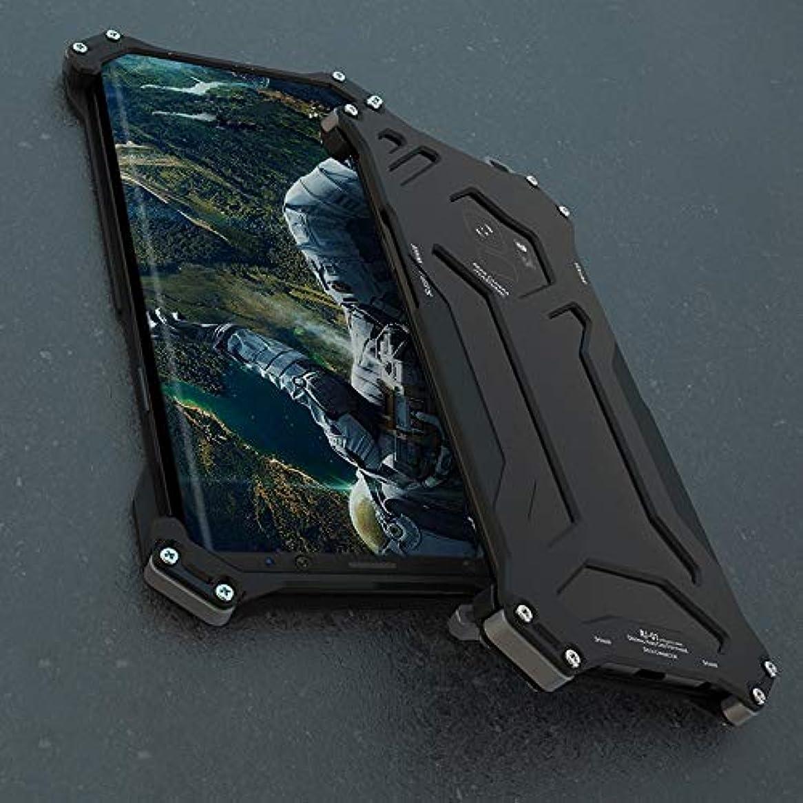 体系的に凍る凍るTonglilili メタルフレームパーソナルフリップケースアーマーアンチノックケース電話ディフェンダーシリコンカバー電話プロテクター電話ケース、サムスンS9、S9プラス (Color : 黒, Edition : S9)