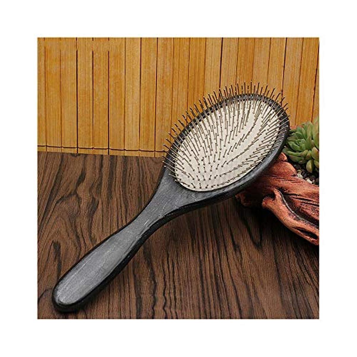 素朴な民間人非公式Fashian木製ヘアブラシ、リラックスのための100%手作りの頭皮マッサージエアクッション髪コームズスタイリング抗静的ブラシ ヘアケア (色 : Round)