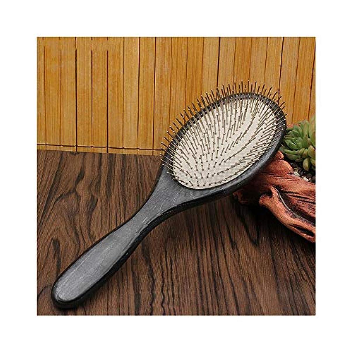 頑固な本物吹きさらしFashian木製ヘアブラシ、リラックスのための100%手作りの頭皮マッサージエアクッション髪コームズスタイリング抗静的ブラシ ヘアケア (色 : Round)