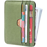 Genuine Leather Card Case Wallet Slim Super Thin Credit Card Holder 6 Card Slots Small Compact Wallets
