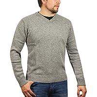 jacksmith Men's Shetland Wool V-Neck Cardigan Sweater Knitted Jumper Pullover (Large, Silver Marle)