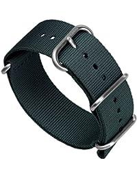 ZULUDIVER バリスティックナイロン ZULU ミリタリータイプ 時計替えストラップ ステンレス製ブラッシュバックル 「新モデル ライトウェイト」 (22mm, アドミラルティグレー)