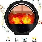 岩塩ランプ 20W 知能音楽 Bluetoothスピーカー 空気浄化と癒しの灯り 安眠効果 マイナスイオン効果 (ブラック)