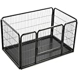 vidaXL Puppy Playpen with Plastic Bottom Tray Steel Exercise Kennel Puppy Dog Outdoor Play Pen Space Animal Fence Crate 125x80x70cm