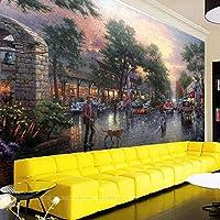Wuyyii カスタム壁紙3D写真壁画のリビングルームファッション現代都市ストリート油絵美しい騎士役割3D壁紙-450X300Cm