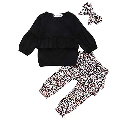 preetyyou Toddler Baby Girl Leopard Outfits Clothing Kids Ruffle Long Sleeve T-Shirt Tops+Pants+Headband 3Pcs Clothes(Black, 12-18 Months)