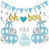 誕生日飾り付け ベビーシャワーパーティーデコレーション ブルー 男 OhBoyバナー ガーランド 吊り下げ渦巻き 紙吹雪入れ風船 誕生日パーティー 装飾  31枚セット