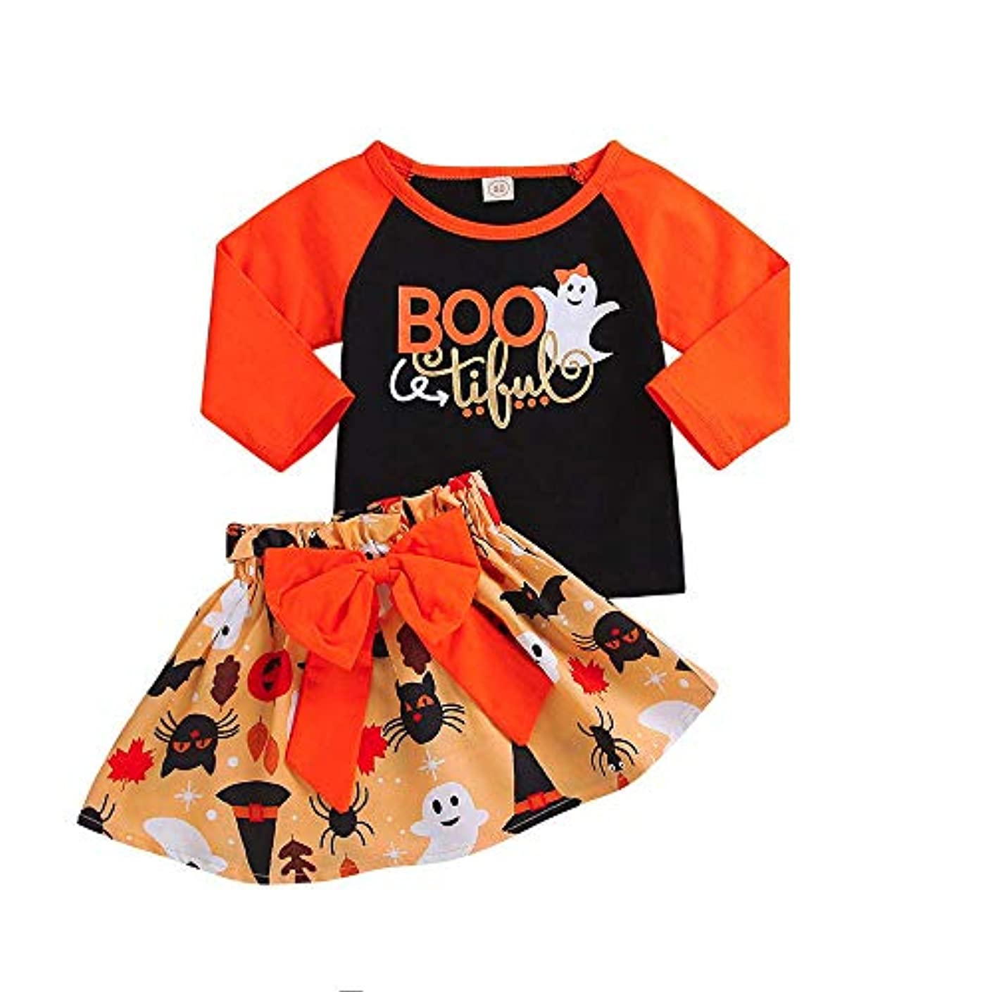 これまで時間湿ったBHKK 子供 幼児の女の子の漫画ロングスリーブパンプキンスカートハロウィーンのちょう結びセット 12ヶ月 -4 歳 18ヶ月
