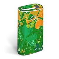 glo グロー グロウ 専用スキンシール 全面 + 天面 + 底面 360°フルセット カバー ケース 保護 フィルム ステッカー デコ アクセサリー 電子たばこ タバコ 煙草 デザイン フラワー 緑 四つ葉 クローバー 005820