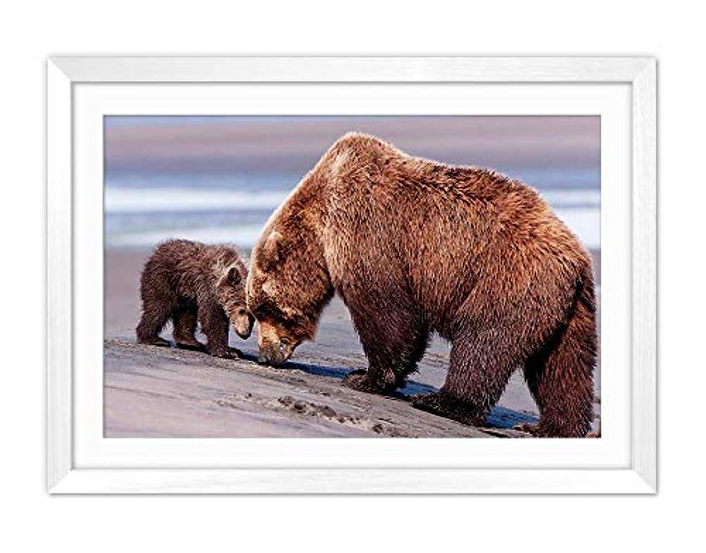 湿度ヒステリックマイク白い木枠フレーム ホーム装飾ポスター 額入り絵画(クマママと赤ちゃん)50x35cm
