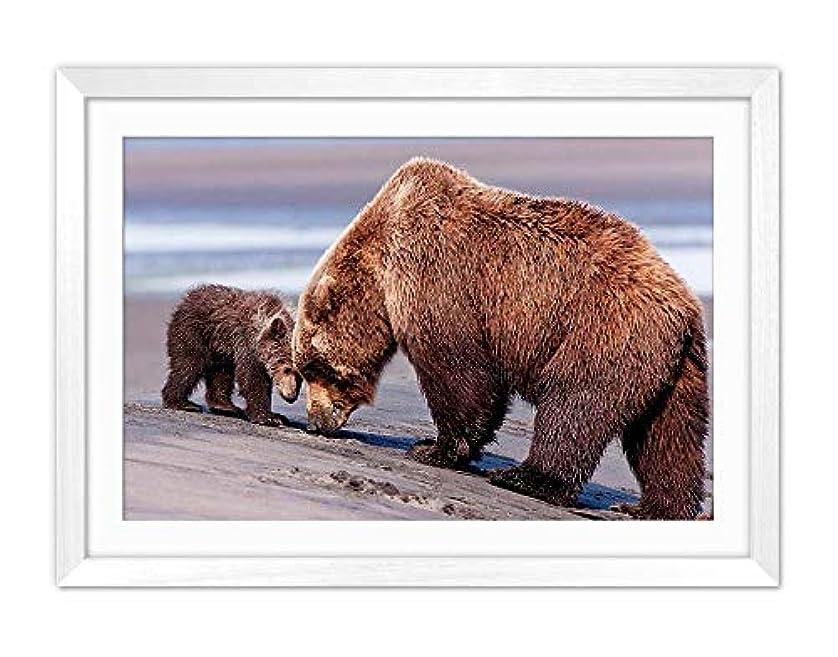 役員いつまもなく白い木枠フレーム ホーム装飾ポスター 額入り絵画(クマママと赤ちゃん)50x35cm