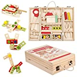ColorGo 大工さんセット 収納トントン 子供知育玩具 木製 ツールボックストントン  積み木 パズル 赤ちゃん能力を育てるおままごと セット