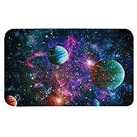 Hengjiang惑星宇宙スペース屋内ドアマット45×75センチメートルフロアマット厚いアンチスリップフランネルスポンジ吸収ドアマット(01)